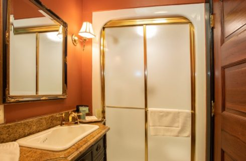 Bathroom with rust colored walls, stand up shower with glass doors and vanity with sink